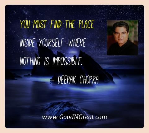 Deepak Chopra Best Quotes  - You must find the place inside yourself where nothing is