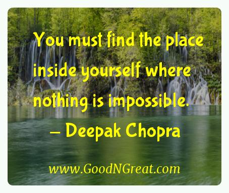 Deepak Chopra Inspirational Quotes  - You must find the place inside yourself where nothing is