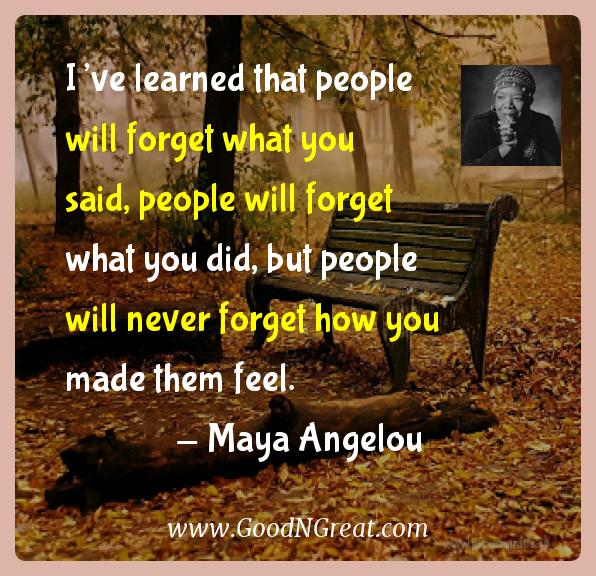 Maya Angelou Inspirational Quotes  - I've learned that people will forget what you said, people